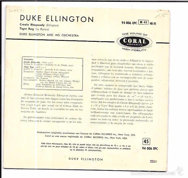 Discos de vinilo: SINGLE. CREOLE RHAPSODY. TIGER RAG. DUKE ELLINGTON AND HIS ORCHESTRA. - Foto 2 - 57962725