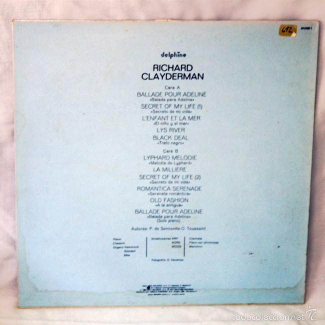 Discos de vinilo: Richard Clayderman 'Ballade Pour Adeline' - 1977 - Delphine - Disco de Vinilo LP - Foto 2 - 58007924
