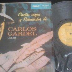 Discos de vinilo: CARLOS GARDEL CARTAS VIEJAS LP/ RCA - LPV1 144 (1970) EDICIÓN VENEZUELA. Lote 58020293