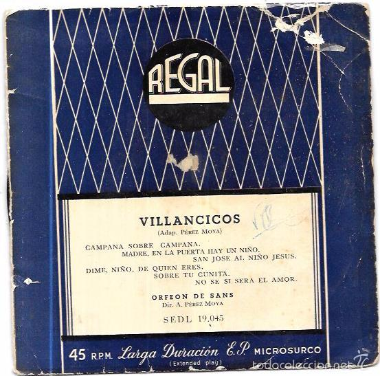 SINGLE. VILLANCICOS. PEREZ MOYA. ORFEON DE SANS. (Música - Discos - Singles Vinilo - Música Infantil)
