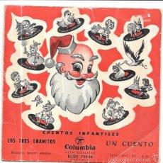 Discos de vinilo: SINGLE. CUENTOS INFANTILES. LOS TRES ENANITOS. COLUMBIA.. Lote 58043227