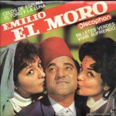 Discos de vinilo: EMILIO EL MORO - CELOS DE ESPUMA / EL TORO Y LA LUNA / BILLETES VERDES / VIVIR SUFRIENDO - 1964. Lote 58097139