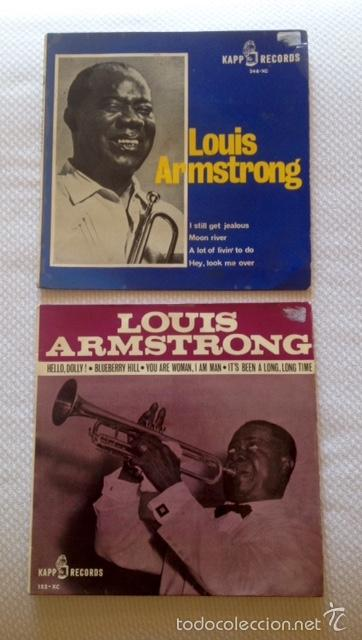 [LOTE DE CONJUNTO:] 2 EP DE LOUIS ARMSTRONG (VER DESCRIPCIÓN) DE 1964 (Música - Discos de Vinilo - EPs - Jazz, Jazz-Rock, Blues y R&B)