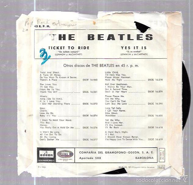 Discos de vinilo: SINGLE. THE BEATLES. TICKET TO RIDE. YES IT IS. LENNON Y MCCARTNEY. - Foto 2 - 58106509