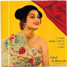 Discos de vinilo: SINGLE. RAFAEL DE MONCADA Y SU ORQUESTA TIPICA. EL RELICARIO. SOMBREROS Y MANTILLAS. MI JACA.. Lote 58107862