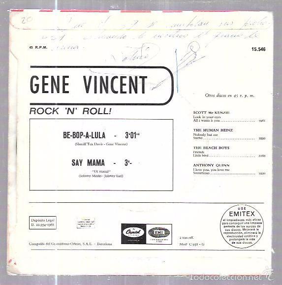 Discos de vinilo: SINGLE. ROCK ´N´ ROLL. BE-BOP-A-LULA. SAY MAMA. GENE VINCENT. - Foto 2 - 58110437