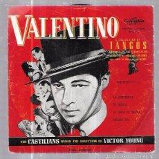 Discos de vinilo: SINGLE. VALENTINO. TANGOS Nº2. THE CASTILIANS. LA COMPARSITA. EL GIGOLO. EL SHEIK DE ARABIA.. Lote 58110770