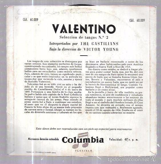Discos de vinilo: SINGLE. VALENTINO. TANGOS Nº2. THE CASTILIANS. LA COMPARSITA. EL GIGOLO. EL SHEIK DE ARABIA. - Foto 2 - 58110770