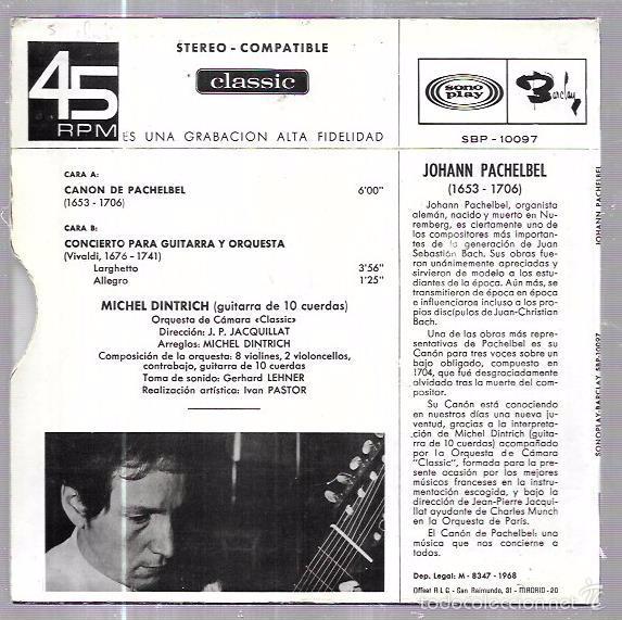 Discos de vinilo: SINGLE. EL INMORTAL. CANON DE PACHELBEL. MICHEL DINTRICH. JEAN-PIERRE JACQUILLAT. - Foto 2 - 58110812