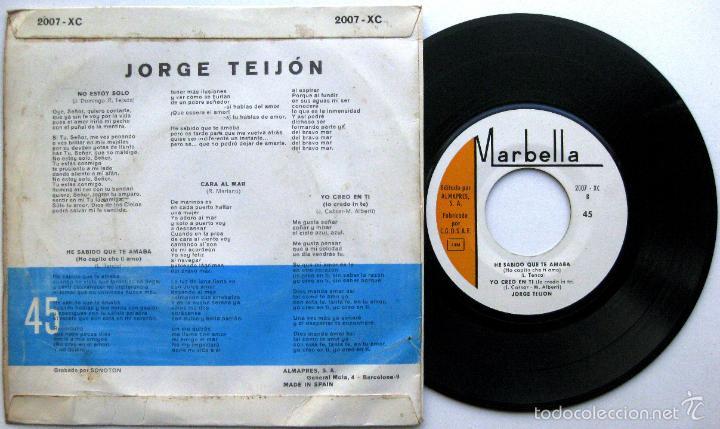Discos de vinilo: Jorge Teijon - No Estoy Solo +3 (VI Festival Cancion Mediterranea) - EP Marbella 1964 BPY - Foto 2 - 58115372