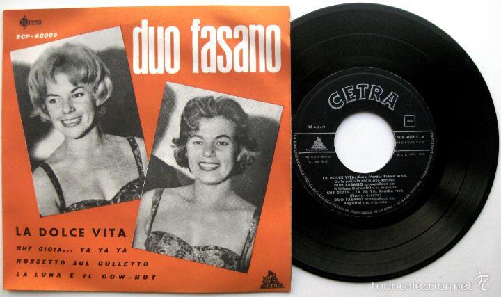 DUO FASANO - LA DOLCE VITA +3 - EP SAEF / CETRA 1960 BPY (Música - Discos de Vinilo - EPs - Canción Francesa e Italiana)