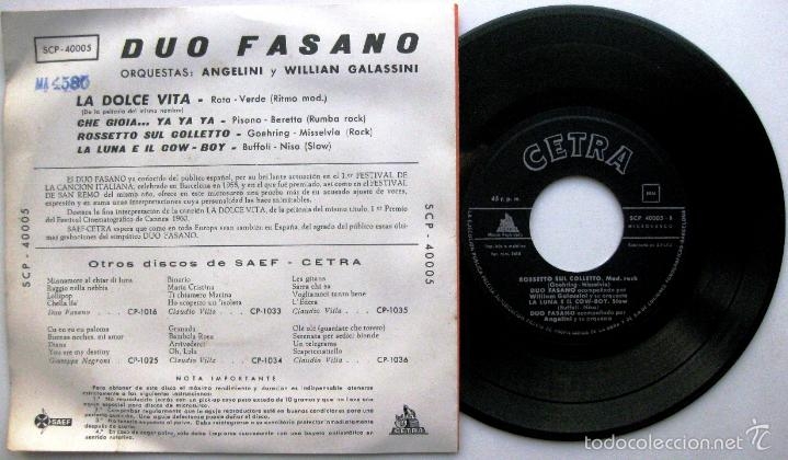 Discos de vinilo: Duo Fasano - La Dolce Vita +3 - EP Saef / Cetra 1960 BPY - Foto 2 - 58115915