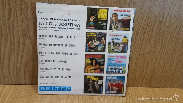 Discos de vinilo: FAICO Y JOSEFINA. LO QUE EN NAVARRA SE CANTA. EP / BELTER - 1969 / ***/*** - Foto 2 - 58116272