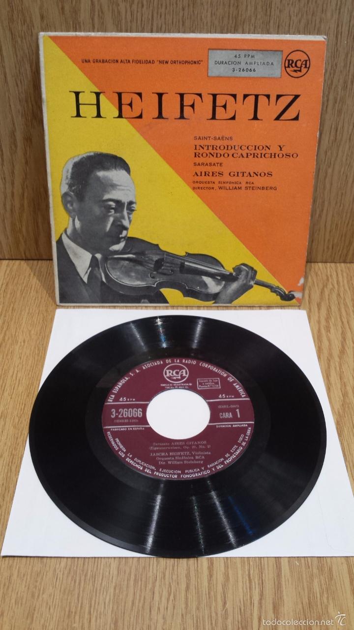 HEIFETZ. SAINT-SAENS / SARASATE. EP / RCA - AÑOS 50 / MBC. ***/*** DIFÍCIL. (Música - Discos de Vinilo - EPs - Clásica, Ópera, Zarzuela y Marchas)