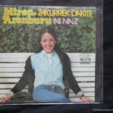 Discos de vinilo: MIREN ARANBURU - ZAKURREK DAKITE / NI NAIZ - EUSKERA - KARDANTXA 1977. Lote 58118857