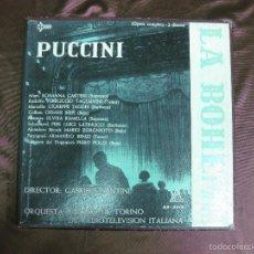 Discos de vinilo: LA BOHEME. PUCCINI. ROSANNA CARTERI, FERRUCCIO TAGLIAVINI. ORQUESTA Y CORO RAI. CETRA. 2 LP'S + LIBR. Lote 58145754