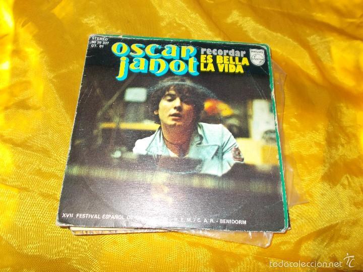 OSCAR JANOT. RECORDAR / ES BELLA LA VIDA. XVII FESTIVAL DE LA CANCION. PHILIPS 1975.IMPECABLE (Música - Discos - Singles Vinilo - Otros Festivales de la Canción)