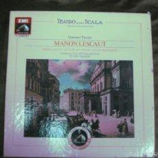 Discos de vinilo: TEATRO ALLA SCALA. MANON LESCAUT . PUCCINI. MARIA CALLAS. DI STEFANO. TULIO SERAFIN. 3 LP'S + LIBRET. Lote 159363176