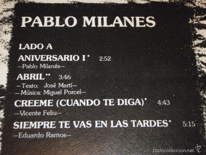 Discos de vinilo: PABLO MILANES ( ANIVERSARIO ) MEXICO -1980 LP33 - Foto 3 - 3517612