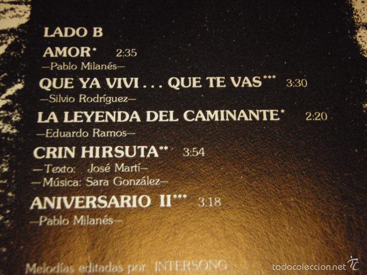 Discos de vinilo: PABLO MILANES ( ANIVERSARIO ) MEXICO -1980 LP33 - Foto 4 - 3517612