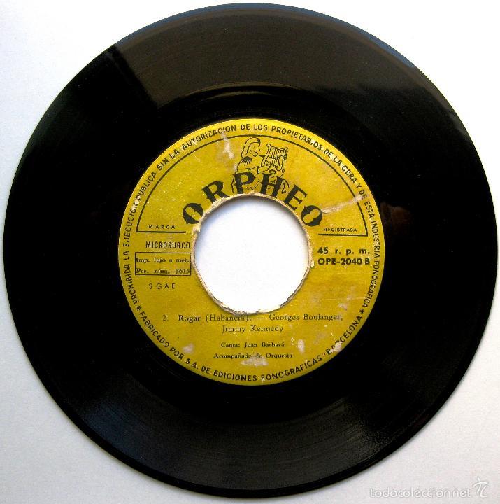 Discos de vinilo: Juan Barbará - Ondamarina / Rogar - Festival San Remo 1957 - Single Orpheo 1957 BPY - Foto 2 - 58212032