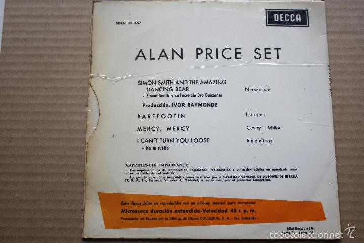 Discos de vinilo: ALAN PRICE SET- SIMON SMITH AND THE AMAZING DANCING BEAR+3-SPAIN EP 1967- w/ TRICENTRE -THE ANIMALS. - Foto 2 - 58213021