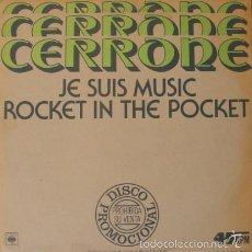 Discos de vinilo: CERRONE - JE SUIS MUSIC - CBS - NONE SPAIN PROMOCIONAL. Lote 58232761