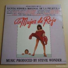 Discos de vinilo: L.P. BANDA SONORA DE LA PELÍCULA, LA MUJER DE ROJO. MÚSICA DE STEVIE WONDER. Lote 58232942