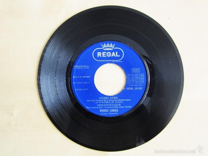 Discos de vinilo: BRUNO LOMAS - COMO AYER - EP 4 TEMAS ORIGINAL VINILO 1966 PRIMERA EDICION REGAL EMI - Foto 4 - 58244562