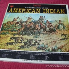 Discos de vinilo: AUTHENTIC MUSIC OF THE AMERICAN INDIAN 1971 !! RARA CAJA 3 LP`S, ORG EDT USA, TODO EXC !!! COLLECTOR. Lote 58257413