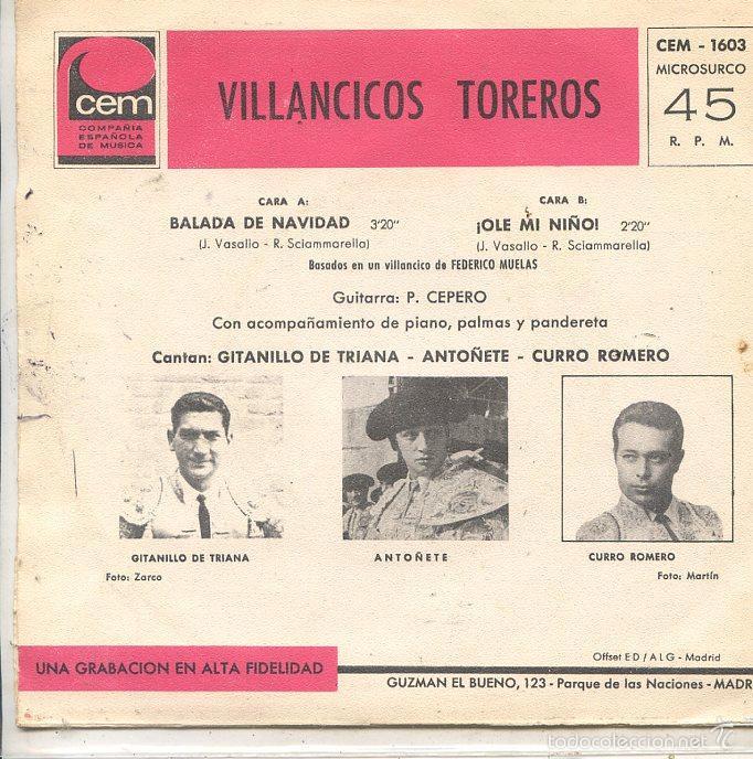 Discos de vinilo: VILLANCICOS TOREROS / BALADA DE NAVIDAD / ¡OLE MI NIÑO! (SINGLE 1967) - Foto 2 - 58297772
