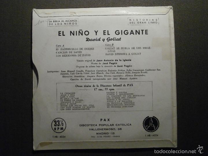 Discos de vinilo: HISTORIAS DEL GRAN LIBRO - DAVID Y GOLIATH - 1 TTB-4024 - 1961 - LA BIBLIA AL ALCANCE DE TODOS - Foto 2 - 58303171