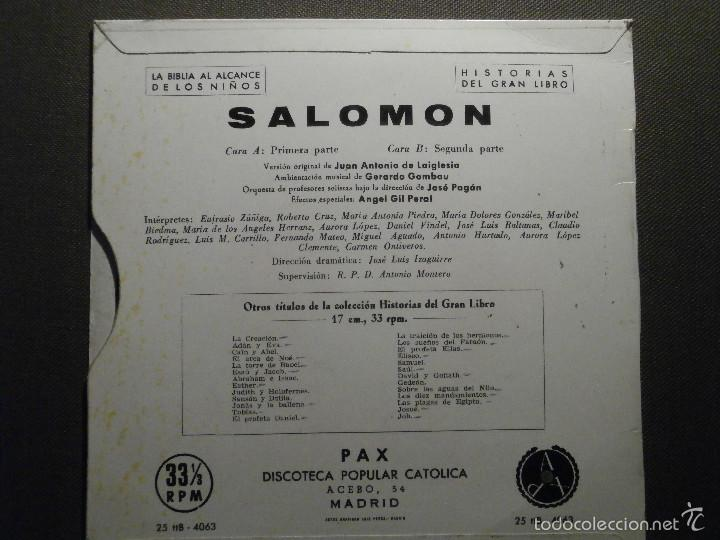 Discos de vinilo: HISTORIAS DEL GRAN LIBRO - SALOMON - 25 TTB-4063 - 1961 - EP - LA BIBLIA AL ALCANCE DE TODOS - Foto 2 - 58303200