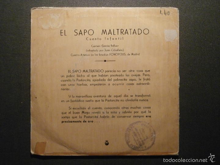 Discos de vinilo: Cuento Infantil - El Sapo Maltratado - Telefunken - Carmen García Bellver - TFJ 95303 - Foto 2 - 58303462