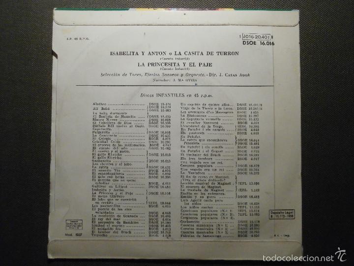 Discos de vinilo: Cuento Infantil - LA PRINCESITA Y EL PAJE + ISABELITA Y ANTÓN O LA CASITA DE TURRON - EMI ODEON - Foto 2 - 58303477