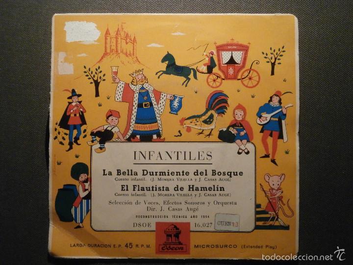 DISCO - VINILO - EP CUENTO INFANTIL - LA BELLA DURMIENTE DEL BOSQUE + EL FLAUTISTA DE HAMELIN, ODEON (Música - Discos de Vinilo - EPs - Otros estilos)
