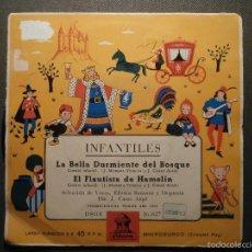 Discos de vinilo: DISCO - VINILO - EP CUENTO INFANTIL - LA BELLA DURMIENTE DEL BOSQUE + EL FLAUTISTA DE HAMELIN, ODEON. Lote 58303512