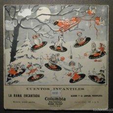 Discos de vinilo: CUENTO INFANTIL - LA RANA ENCANTADA + ALADINO Y LA LÁMPARA MARAVILLOSA - COLUMBIA EDGE 70057 - 1954. Lote 58303578
