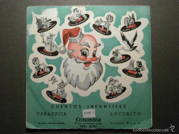 CUENTOS INFANTILES - CARASUCIA + LUCERITO - COLUMBIA EDGE 70154 - 1954 (Música - Discos de Vinilo - EPs - Otros estilos)