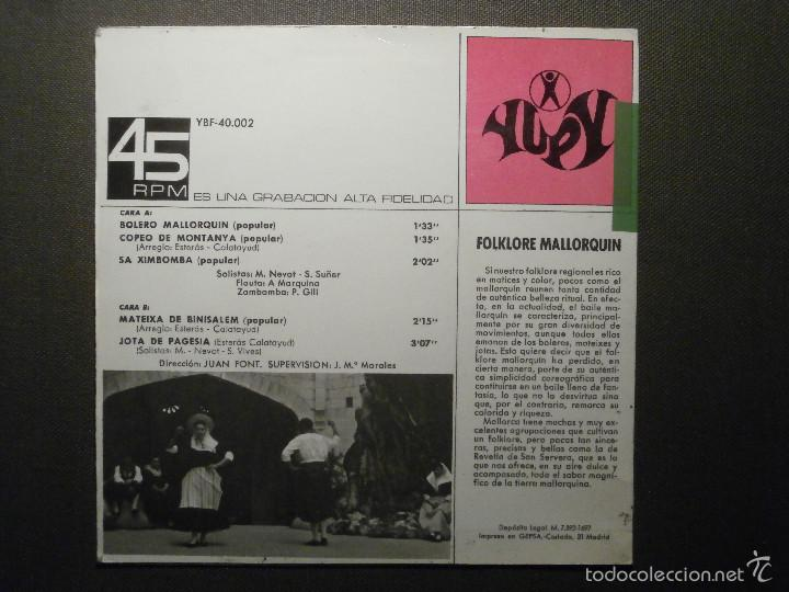 Discos de vinilo: DISCO - VINILO - EP - MALLORCA - AGRUPACIÓN REVETLA DE SON SERVERA - Yupy 1967 - Folklore Mallorquin - Foto 3 - 58303944