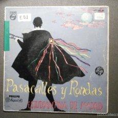 Discos de vinilo: DISCO - VINILO - EP - PASACALLES Y RONDAS - ESTUDIANTINA DE MADRID - PHILIPS - 1959 -. Lote 58303986
