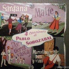 Discos de vinilo: DISCO - VINILO - EP -- 4 CANCIONES DE PABLO SOROZABAL - HISPAVOX - 33 R.P.M. -HH 1502 - 1958. Lote 58303992