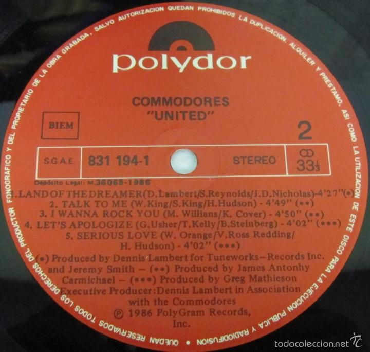 Discos de vinilo: COMMODORES - UNITED - LP - POLYDOR 1986 SPAIN CON LETRAS - N MINT - Foto 2 - 58319742