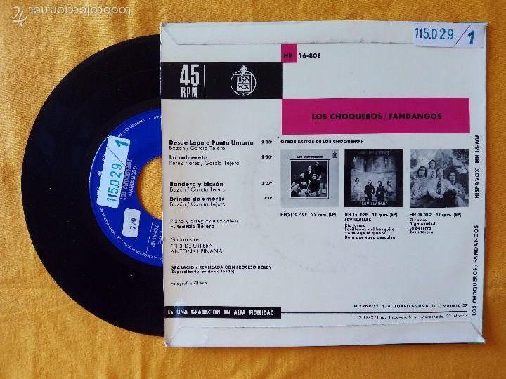 Discos de vinilo: CHOQUEROS, LOS - DESDE LEPE A PUNTA UMBRIA +3 (HISPAVOX) SINGLE EP - FANDANGOS - FELIX DE UTRERA - Foto 2 - 58328252