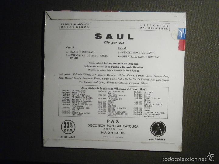 Discos de vinilo: HISTORIAS DEL GRAN LIBRO - SAUL - 24 TTB-4062 - 1961 - EP - LA BIBLIA AL ALCANCE DE TODOS - Foto 2 - 58330935