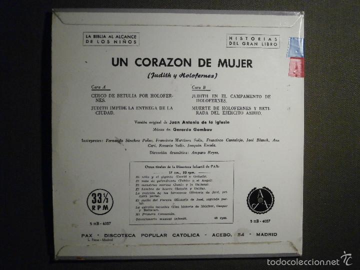 Discos de vinilo: HISTORIAS DEL GRAN LIBRO - CORAZÓN DE MUJER - 5 TTB-4037 - 1961 - LA BIBLIA AL ALCANCE DE TODOS - Foto 2 - 58330938