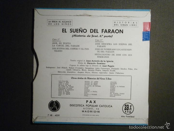 Discos de vinilo: HISTORIAS DEL GRAN LIBRO - EL SUEÑO DEL FARAON - 7 TTB-4039 - 1961 - LA BIBLIA AL ALCANCE DE TODOS - Foto 2 - 58330942