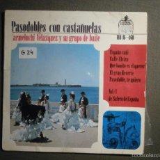 Discos de vinilo: DISCO - VINILO - EP - PASODOBLES CON CASTAÑUELAS - CARMELUCHI VELAZQUEZ Y GRUPO DE BAILE. Lote 58330991