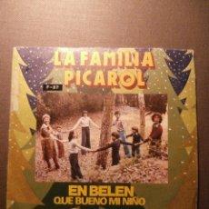 Discos de vinilo: DISCO - VINILO - SINGLE - VILLANCICOS - LA FAMILIA PICAROL - BELTER - 1975. Lote 58352884