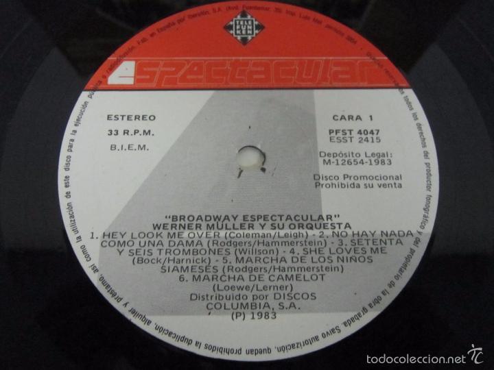 Discos de vinilo: WERNER MÜLLER - BROADWAY ESPECTACULAR 4 FASES - LP - TELEFUNKEN 1983 SPAIN PROMO - Foto 2 - 58395788